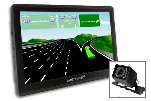 "WorldNav 7650 Truck GPS High Res 7""+ Rearview Camera"
